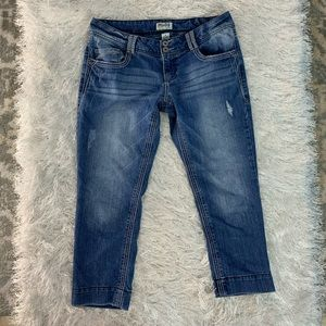 Mudd Love Peace Happiness Womens Blue Short Jeans